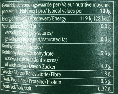 Carottes extra fins - Informations nutritionnelles