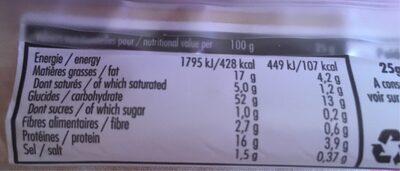 Crackers Stick - Fromage Et Graines De Courge - Informations nutritionnelles - fr