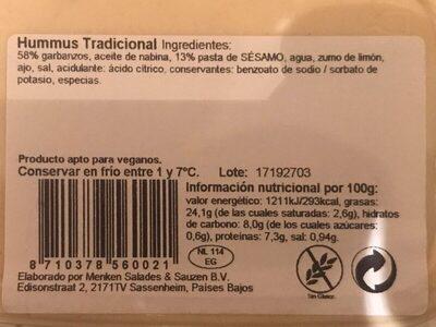 Hummus tradicional - Ingredients - es