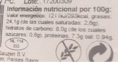 Hummus tradicional - Informació nutricional - es