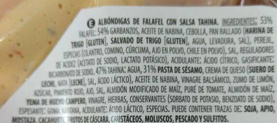 Falafel con salsa Tahina - Ingrédients
