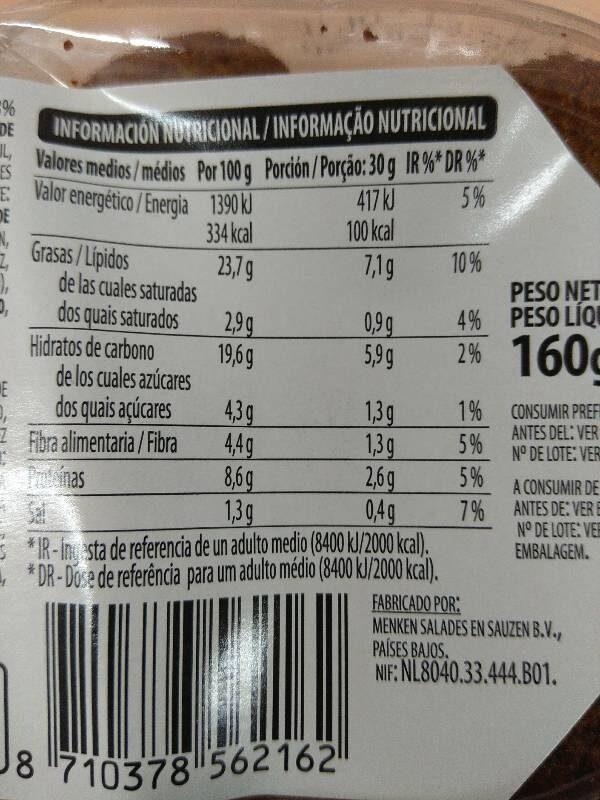 Falafel con salsa Tahina - Informations nutritionnelles
