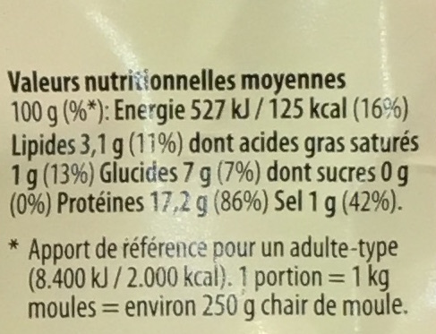 Moules fraîches de Hollande extra - Nutrition facts - fr