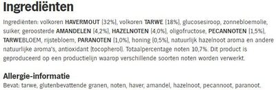 Quaker Cruesli 4 Nuts - Ingredients - nl