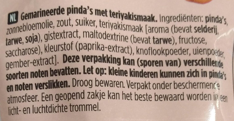 Pindas teriyaki flavour - Ingrediënten - nl