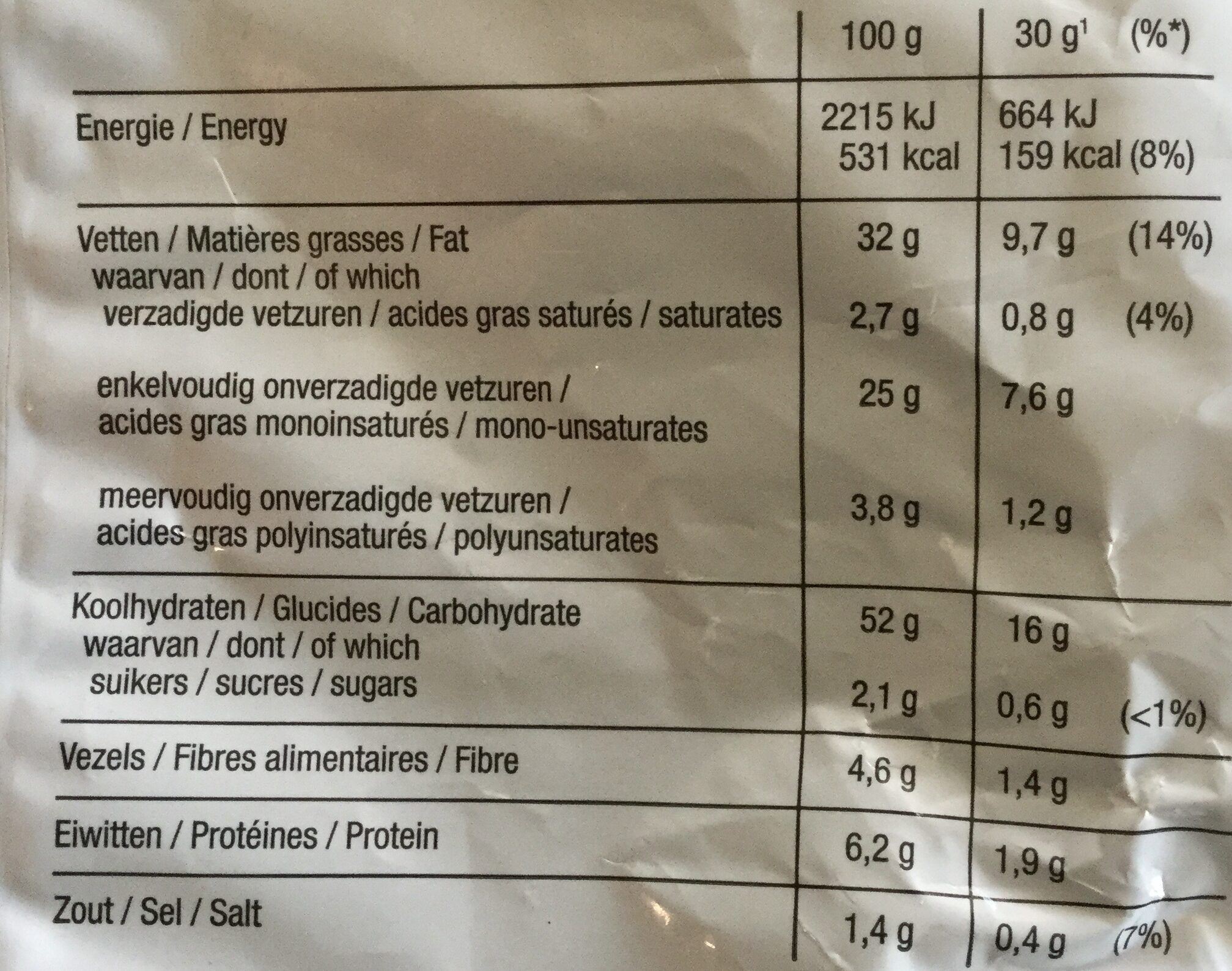 Lay's Paprika - Informação nutricional - nl
