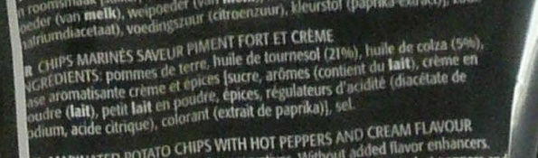 Sensations Mexican Peppers & Cream Flavour - Ingrediënten - fr
