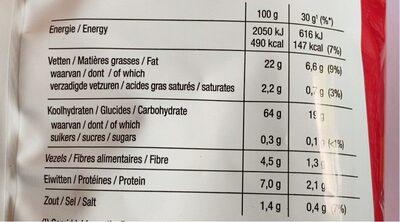 Lay's Light Naturel 170 gr - Informations nutritionnelles - fr