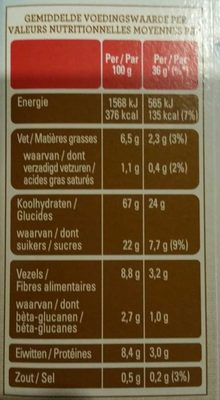 Flocons d'Avoine Cassonade - Voedingswaarden - fr