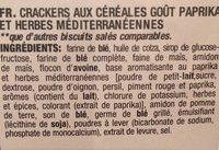 Biscuits Paprika - Ingrediënten - fr