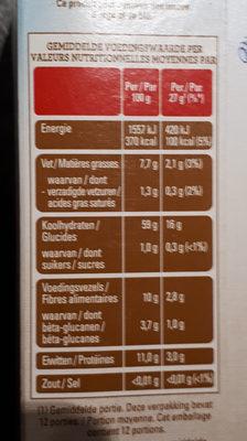 flocons d'avoine naturel - Nährwertangaben