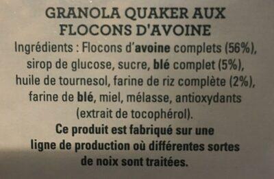 Havermout Granola - Ingrediënten