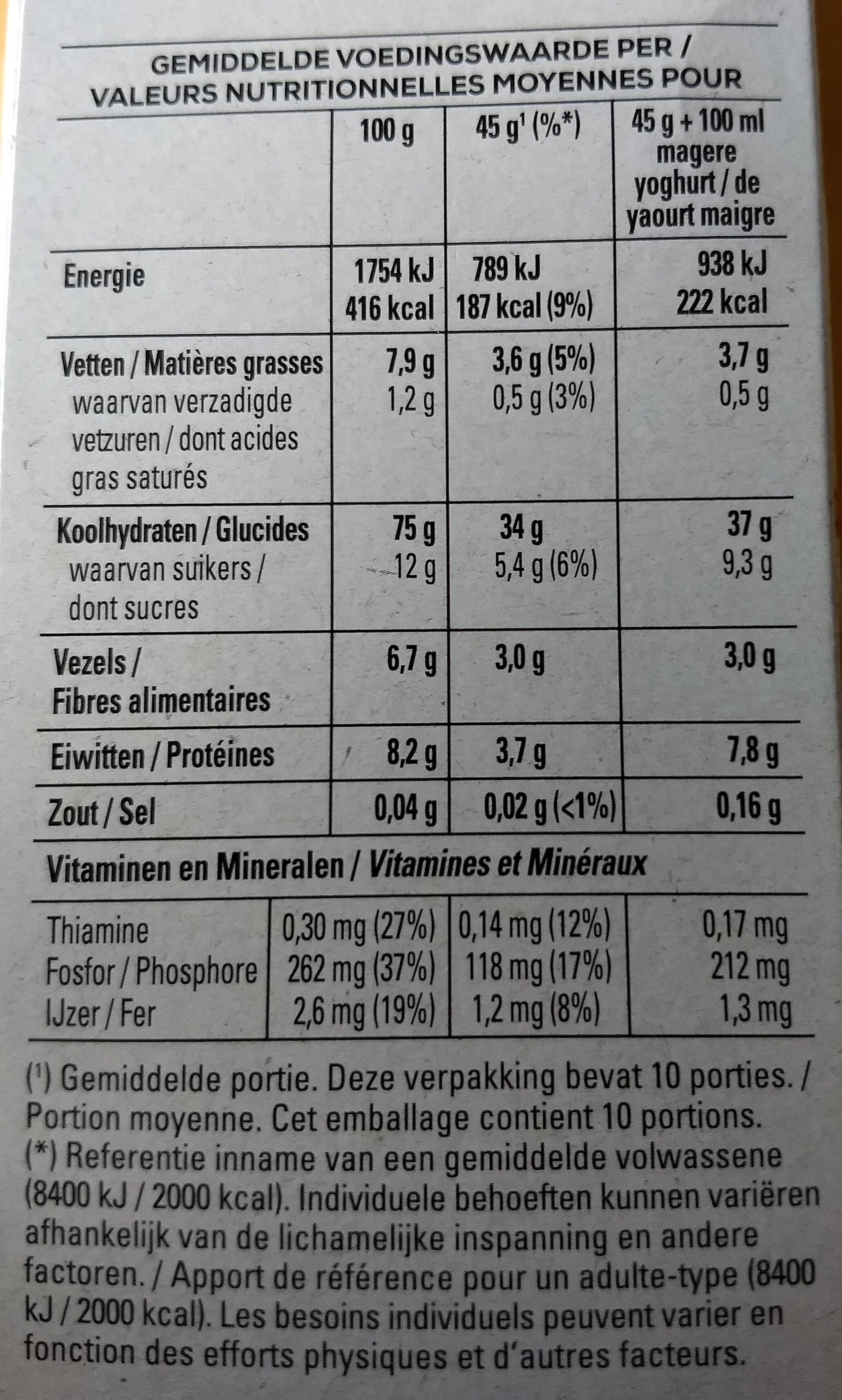 Havermout Flocons d'avoine - Granola - Nutrition facts - fr