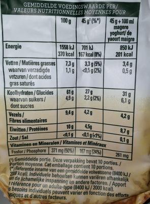 Havermout flocons d'avoine muesli multifruit - Voedingswaarden