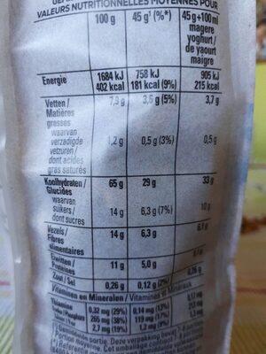 Granola - Goji & blueberry - Voedingswaarden - fr