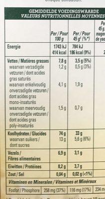 Havermout - Flocons d'avoine granola - Valori nutrizionali - fr