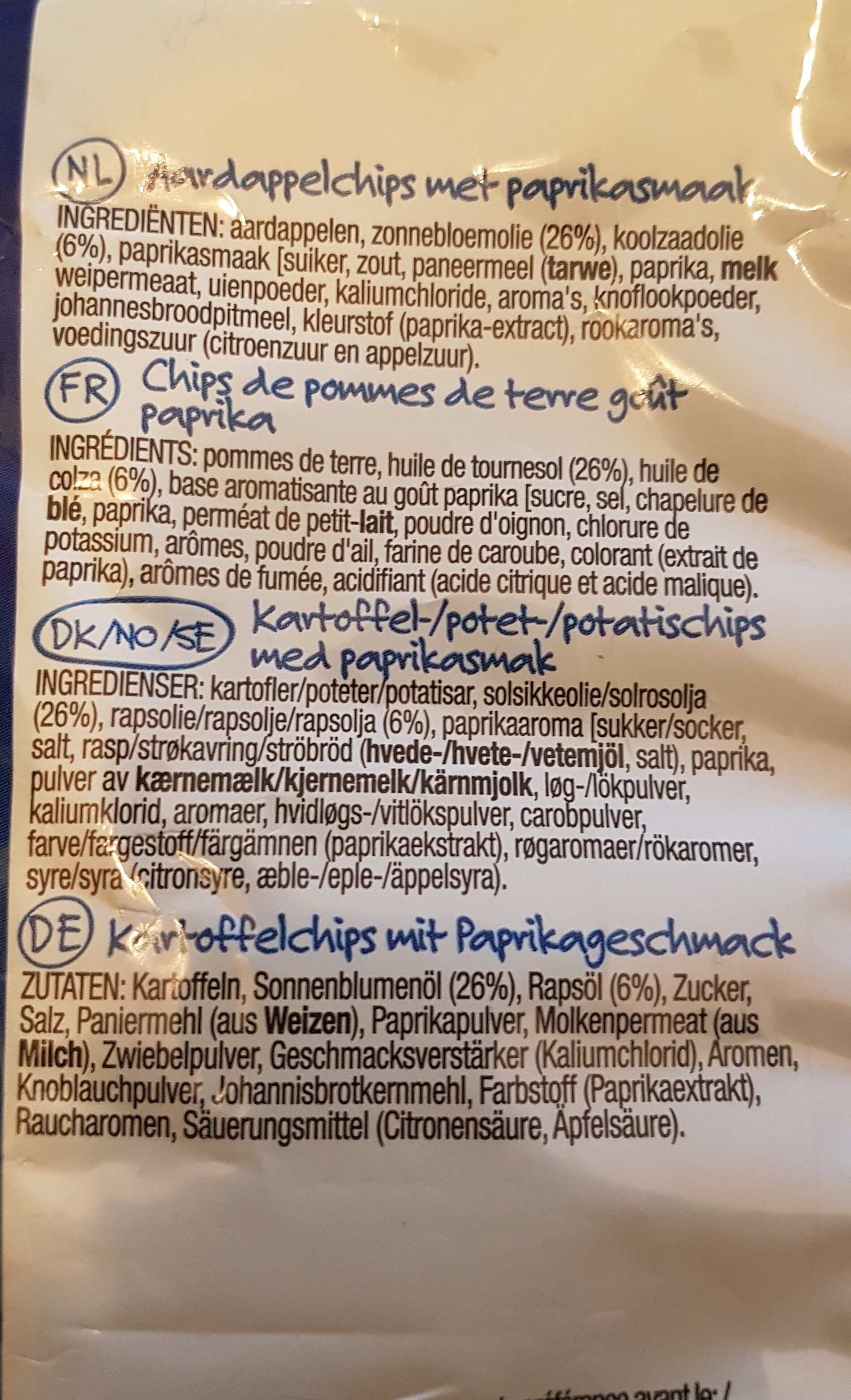 Lay's Paprika Flavour - Inhaltsstoffe - en
