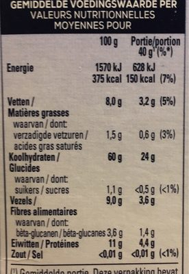 Flocons d'avoine - Nutrition facts - fr