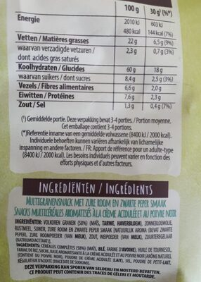 Wavygrains - Nutrition facts