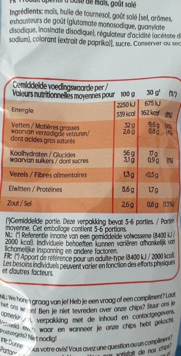 Bugles naturel - Nutrition facts - fr