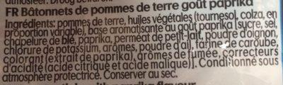 Stick paprika - Ingrediënten - fr