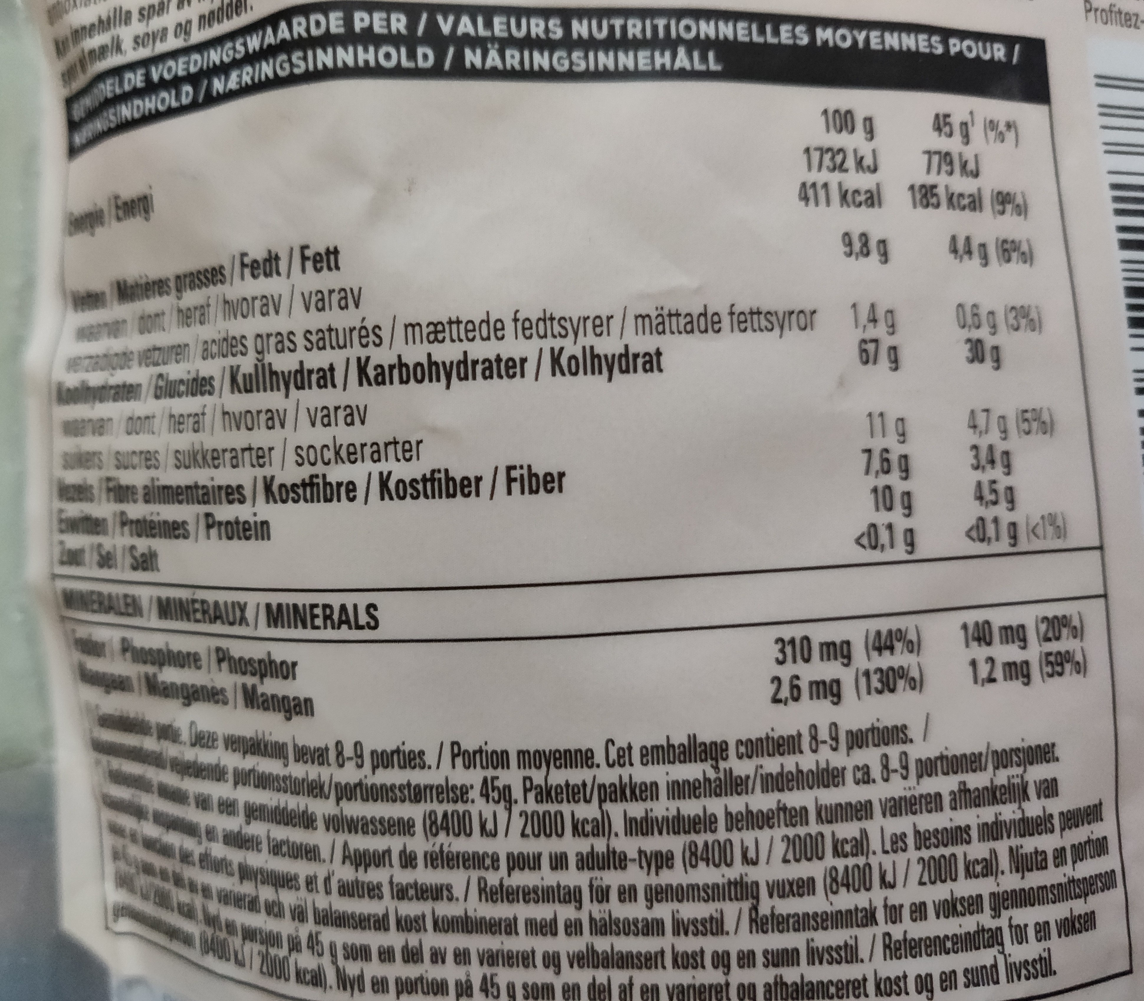 Super Goodness Nutri Boost - Informations nutritionnelles - fr
