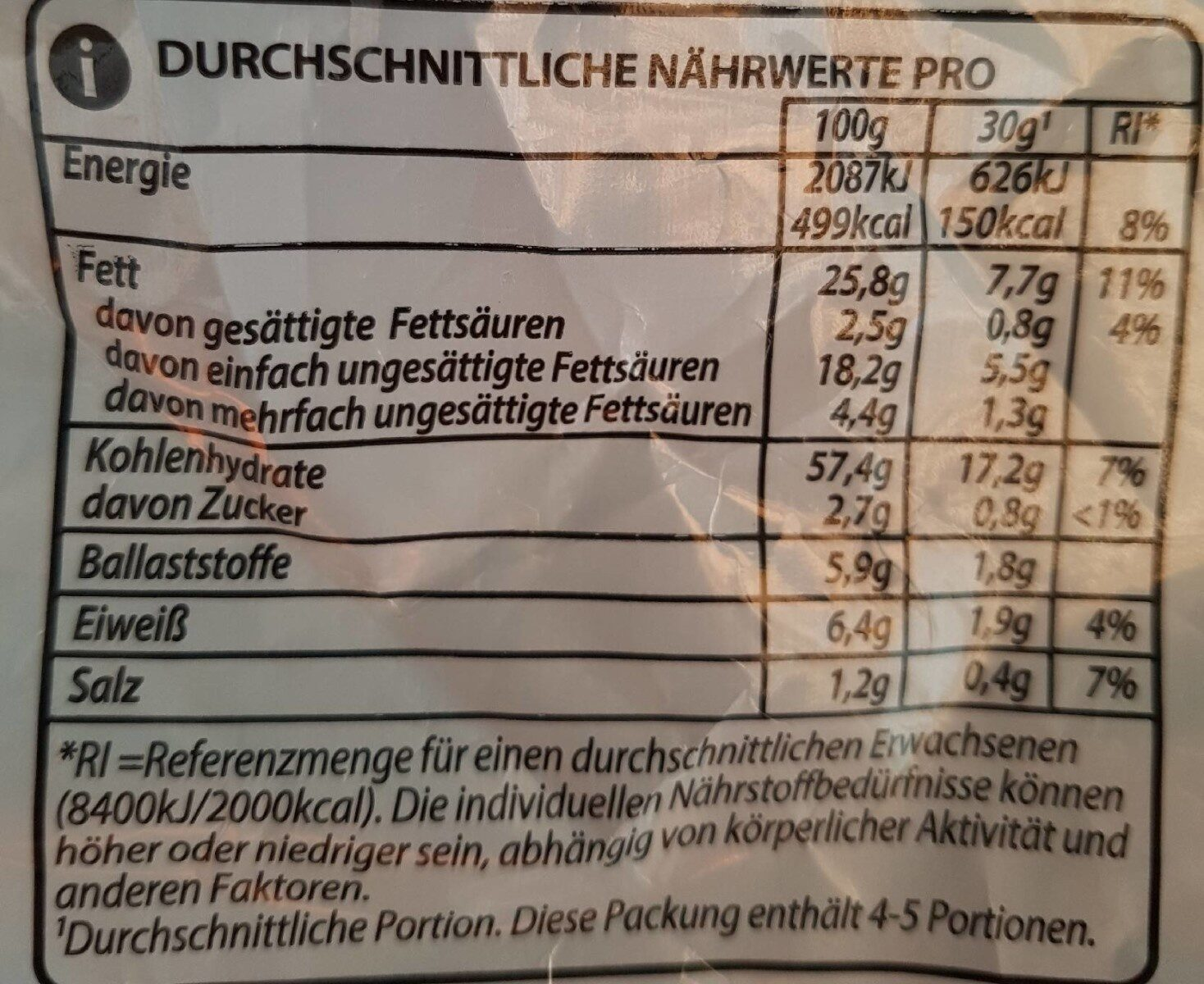 Nacho Cheese - Nährwertangaben - de