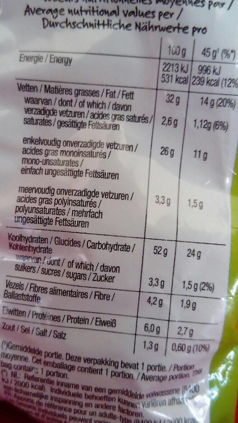 Lay's Pickles Flavour - Nutrition facts - fr