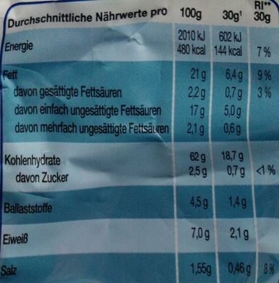 Light 33% Paprika - Nährwertangaben