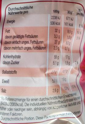 Bugles Paprika-Style - Nährwertangaben