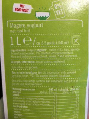 Magere Yoghurt Rood Fruit Pak 1 Liter - Ingrédients - fr