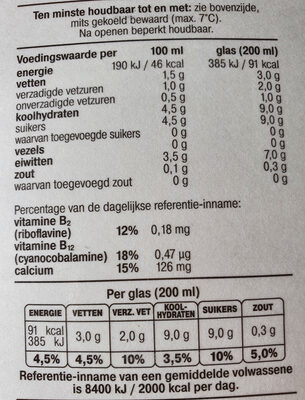 Verse Half Volle Melk - Voedingswaarden - nl