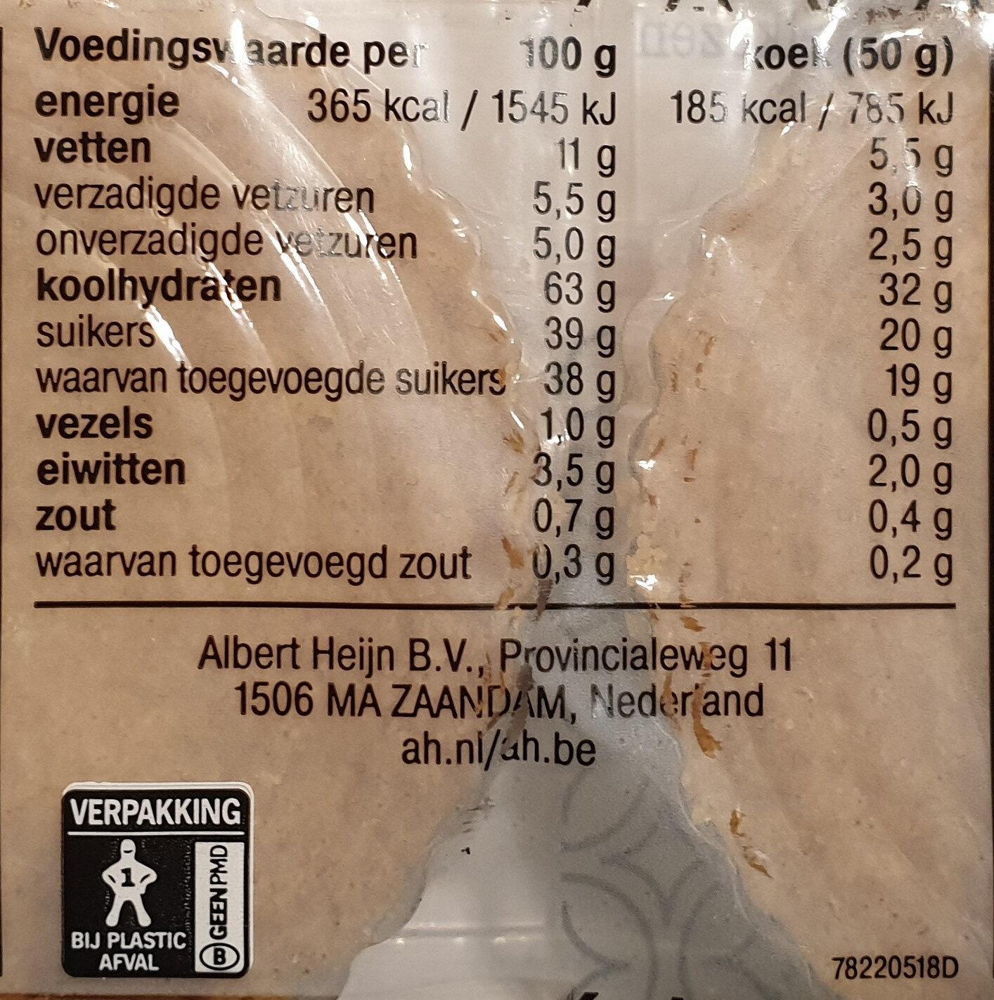 Vruchten koeken - Voedingswaarden - nl