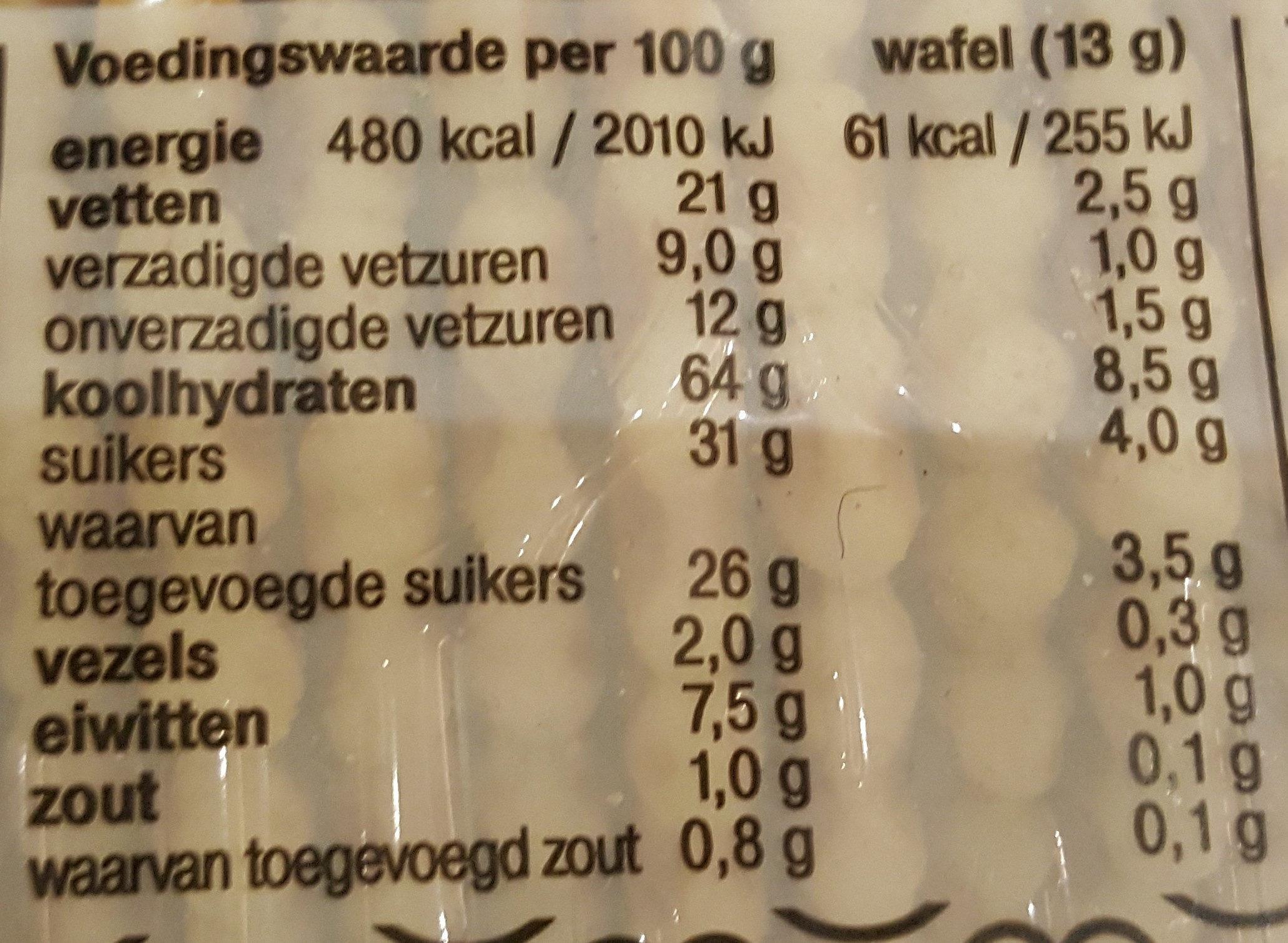 Galette Wafels - Voedingswaarden - nl