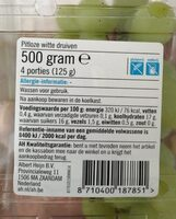 Seedless white grapes - Nutrition facts - en