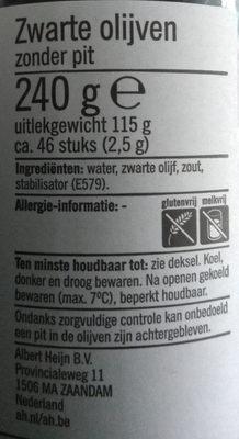 Zwarte olijven - Ingrediënten
