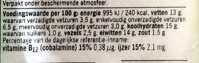 Vegetarisch krokante cheeseburger - Nutrition facts - nl
