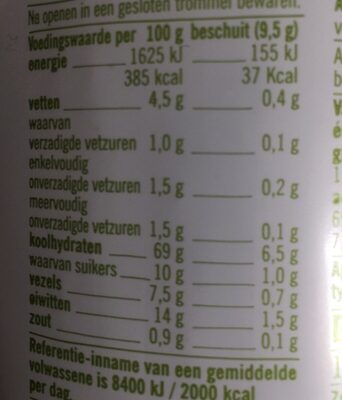 Biologisch volkoren beschuit - Informations nutritionnelles - fr