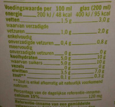 Biologische Halfvolle Melk - Nutrition facts