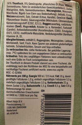 Sandwich thon - Voedingswaarden - nl