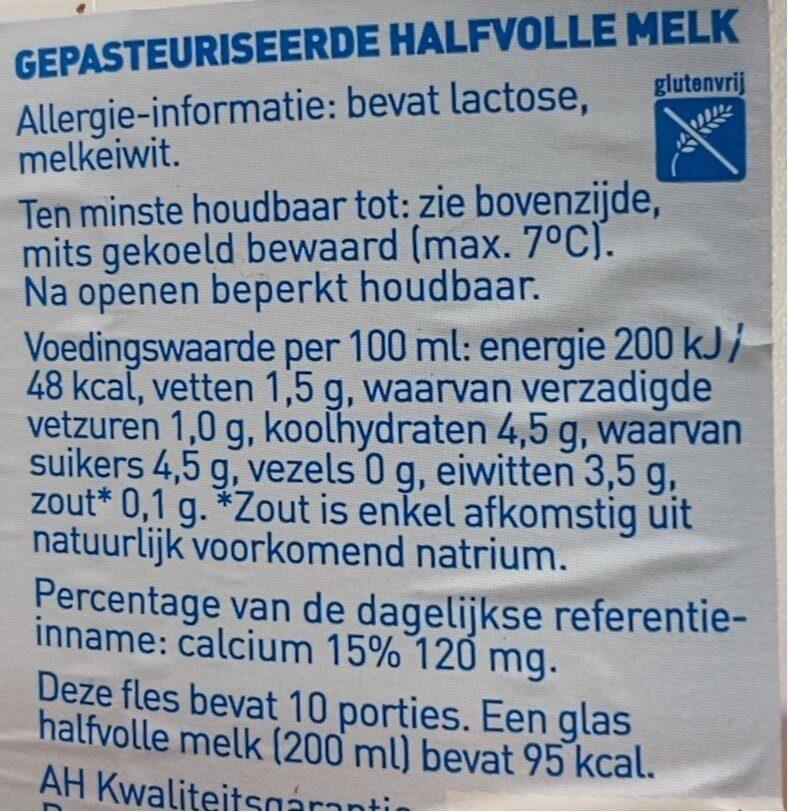 Halfvolle  melk - Voedingswaarden - nl