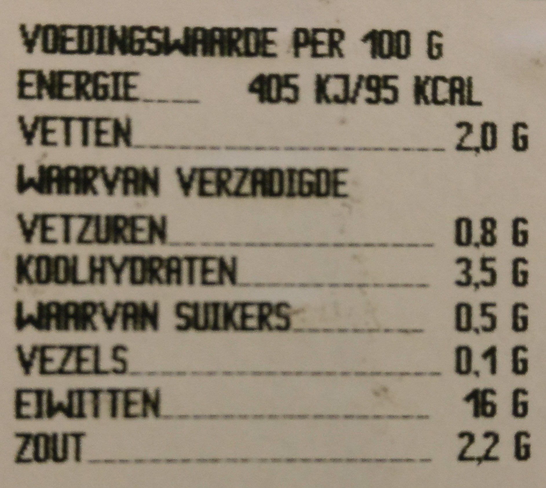Achterham - Nutrition facts - en
