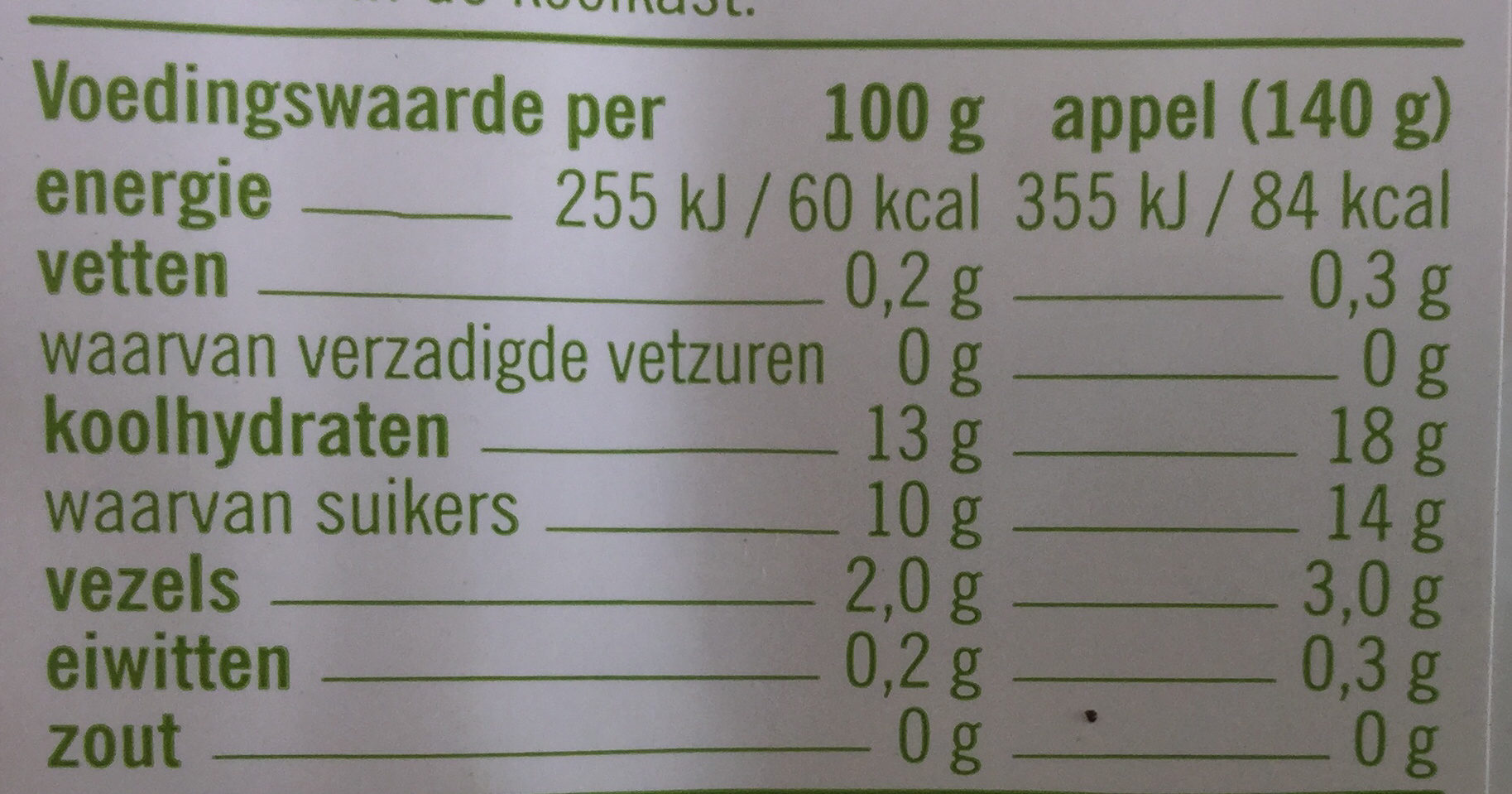 Biologische royal gala - Nutrition facts - nl