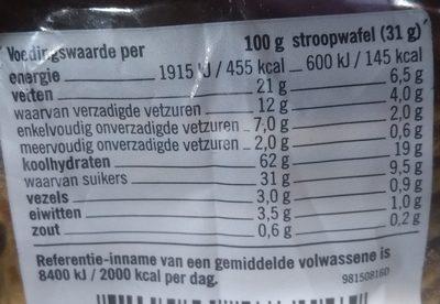 Stroopwafels - Voedingswaarden - nl