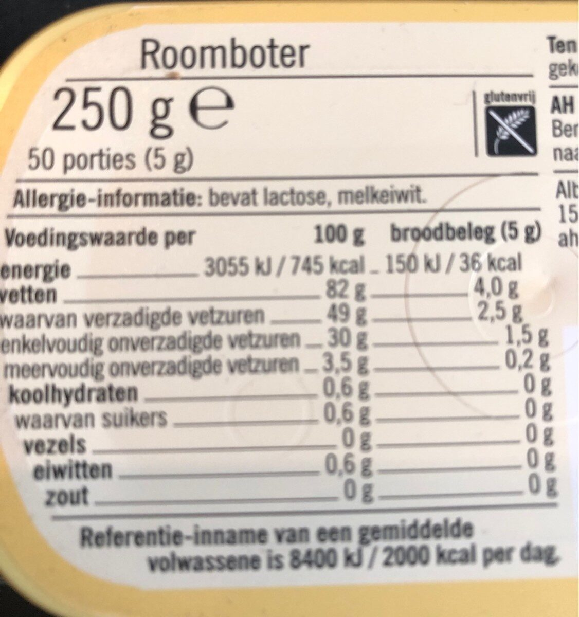 Roomboter - Nutrition facts - nl