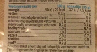Rucola slamelange - Nutrition facts