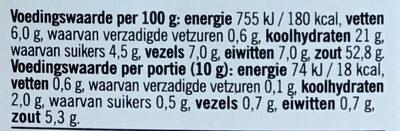 Kruidemix voor Kip - Voedingswaarden