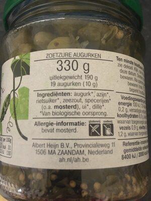 Augurken zoetzuur - Ingredients - en
