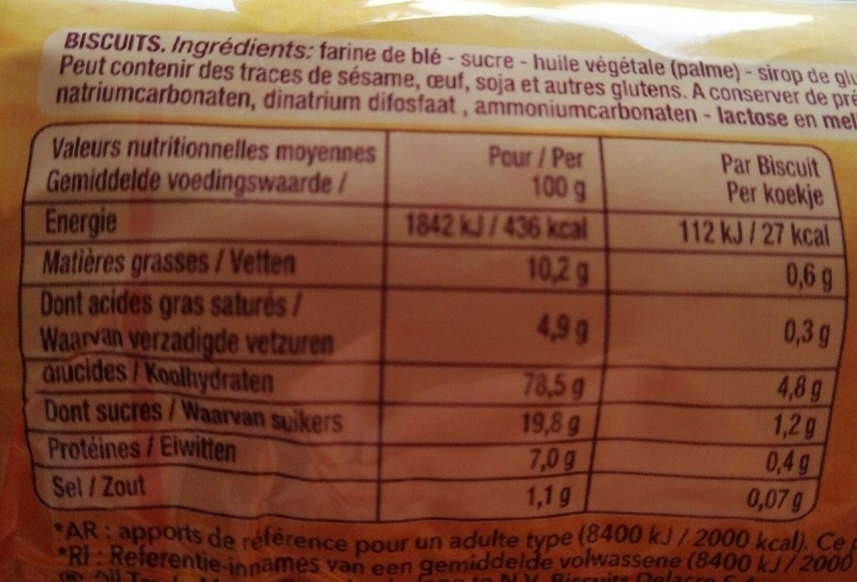 Delacre biscuits maria - Informations nutritionnelles - fr