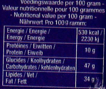 Delacre batons biscuits aperitifs fourres gouda l60g - Informations nutritionnelles - fr